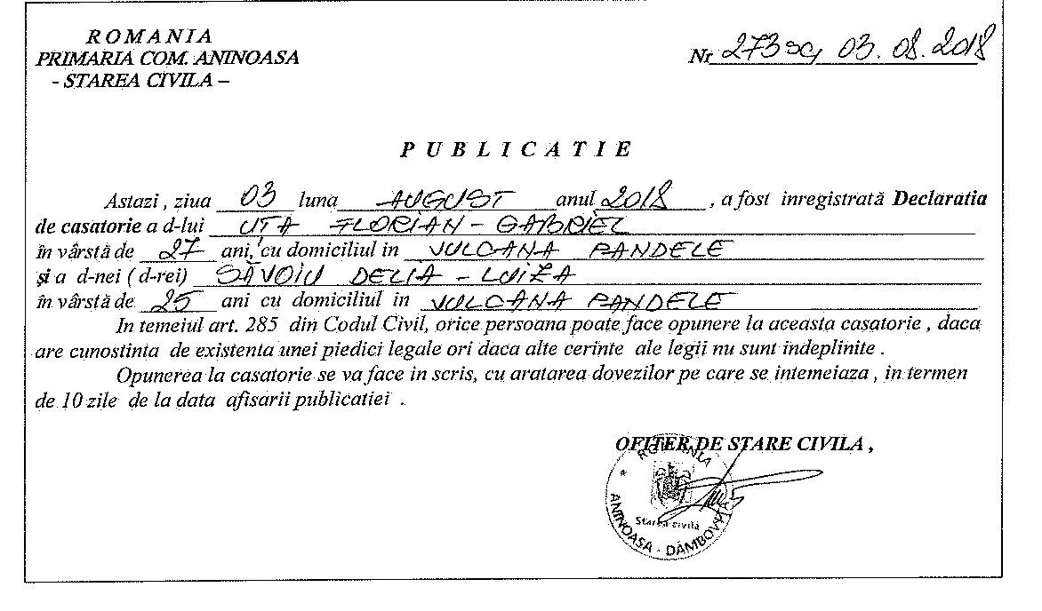 3080ce36e65b8b Publicatii Casatorie - Primaria Comunei Aninoasa judetul Dambovita
